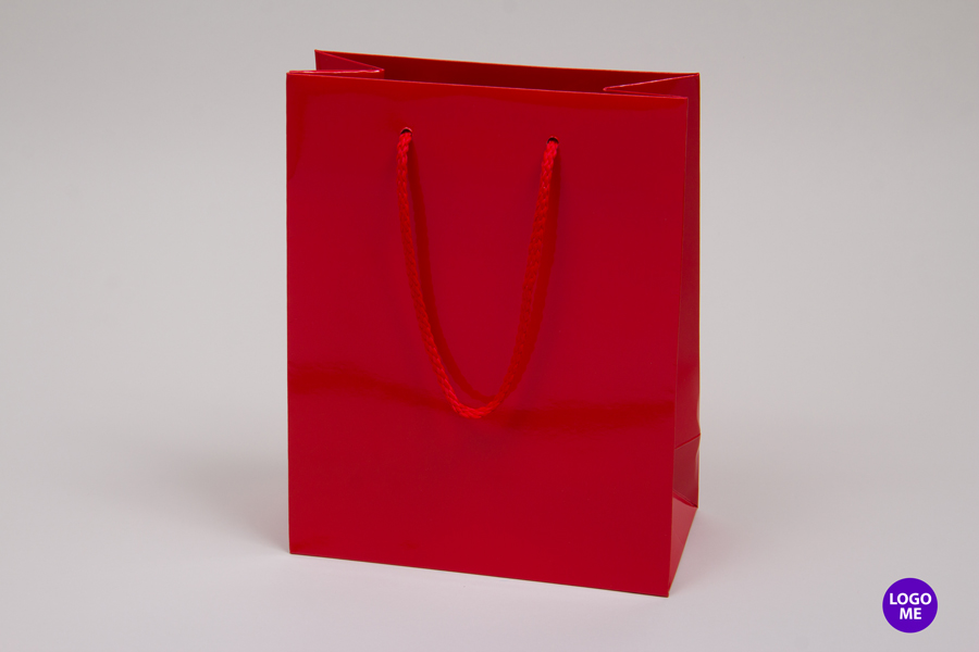 8 x 4 x 10 RED GLOSS PAPER EUROTOTE SHOPPING BAGS
