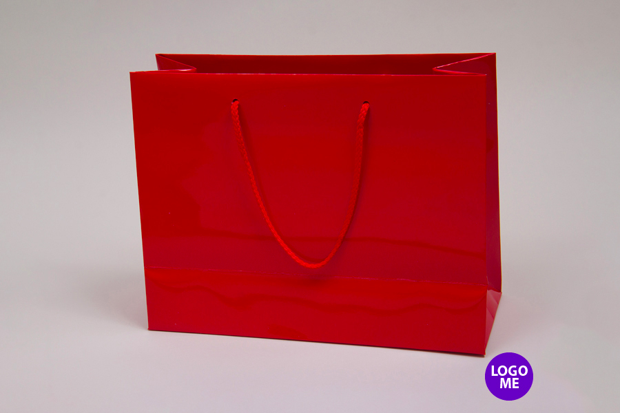 13 x 5 x 10 RED GLOSS PAPER EUROTOTE SHOPPING BAGS
