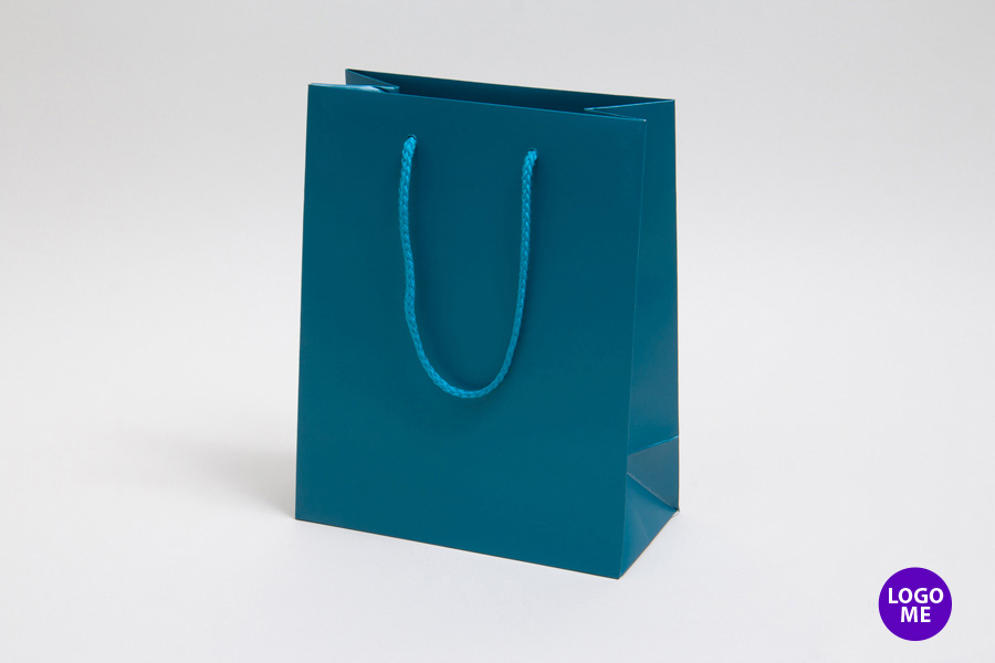8 x 4 x 10 MATTE CARIBBEAN BLUE EUROTOTE SHOPPING BAGS ***LIMITED AVAILABILITY***