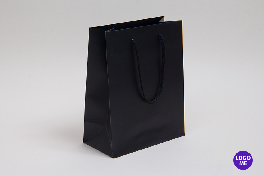 6 x 3.5 x 6.5 MATTE BLACK EUROTOTE SHOPPING BAGS