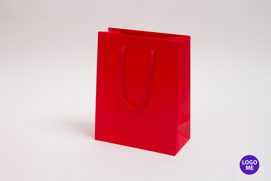 8 x 4 x 10 MATTE RED PAPER EUROTOTE SHOPPING BAGS