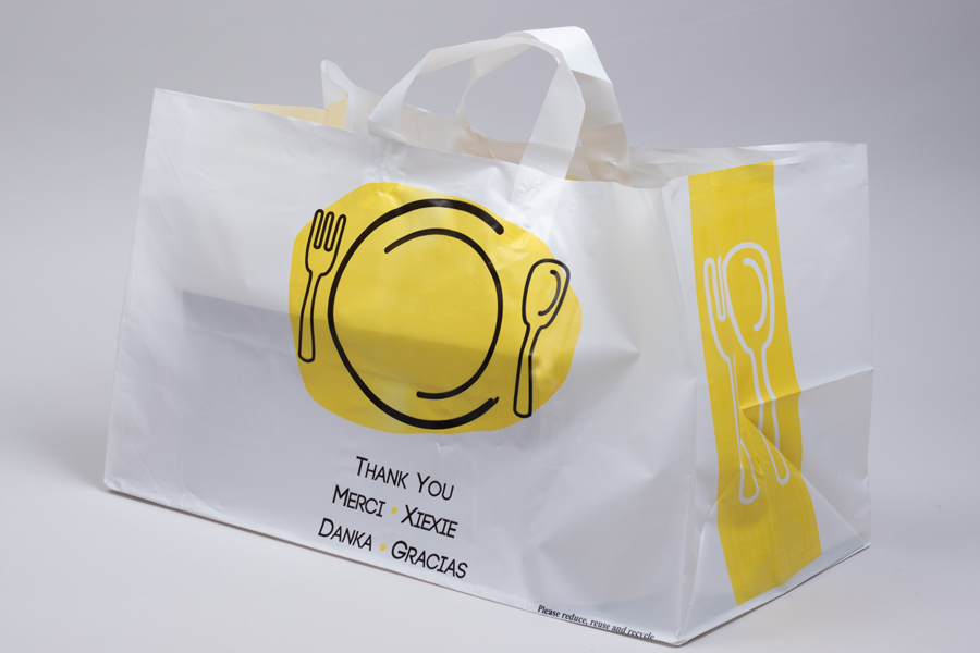 19 x 10 x 12 THANK YOU WHITE PLASTIC HIGH-DENSITY SOFT LOOP TAKEOUT BAGS