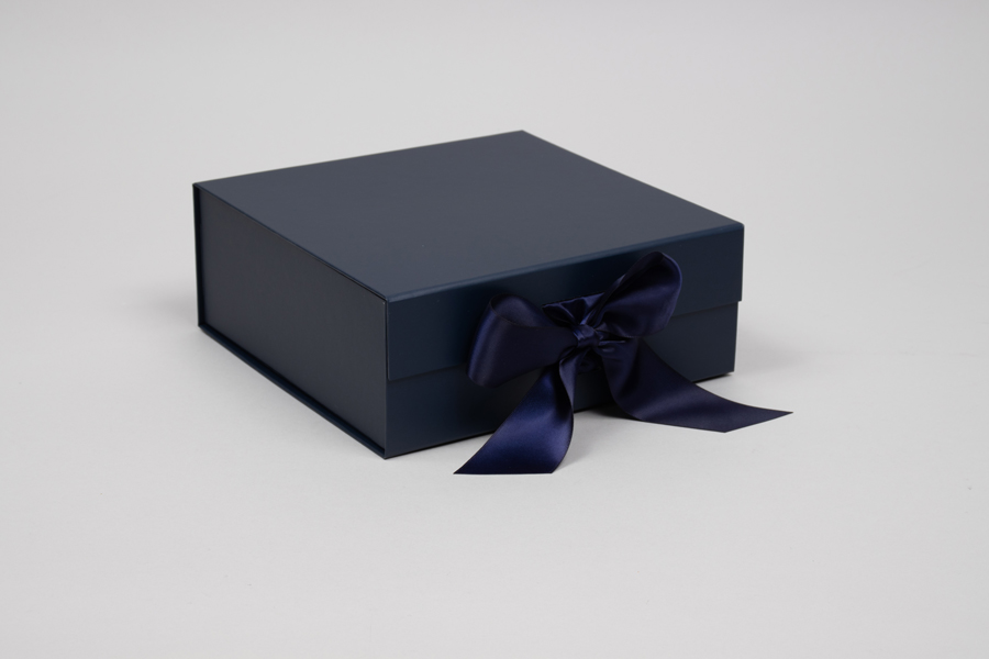 8 x 8 x 3-1/8 MATTE NAVY MAGNETIC LID GIFT BOXES WITH RIBBON