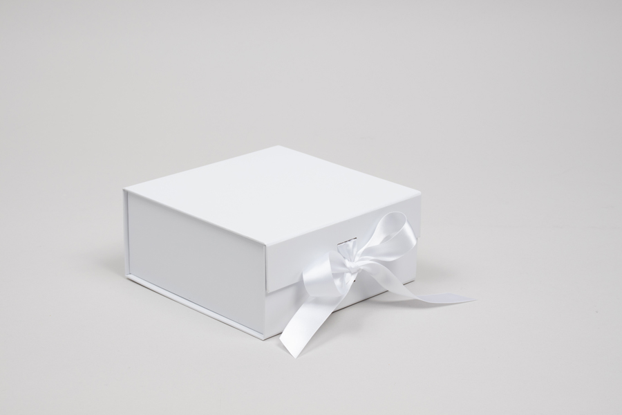 6 x 6 x 2-3/4 MATTE WHITE MAGNETIC LID GIFT BOXES WITH RIBBON