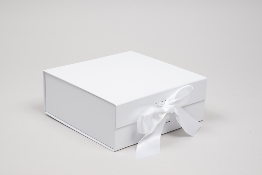 8 x 8 x 3-1/8 MATTE WHITE MAGNETIC LID GIFT BOXES WITH RIBBON