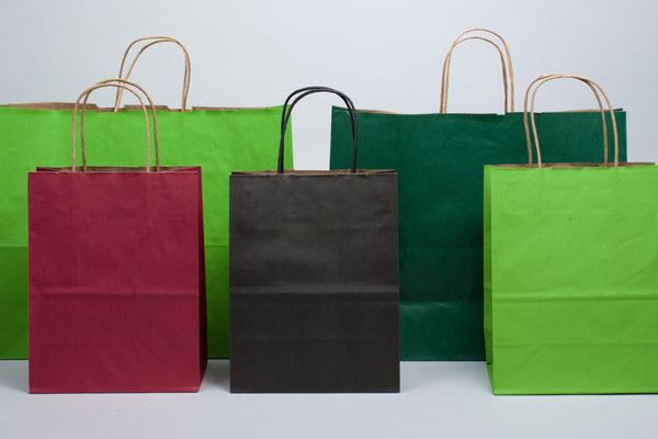 Matte Shadowstripe Color Paper Shopping Bags