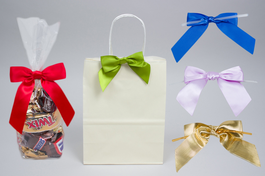 MC - Ribbon - Pre-Tied Satin Bows with Twist Ties