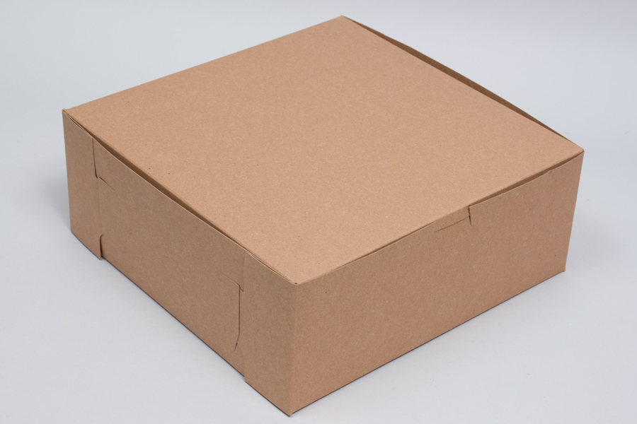 10 x 10 x 4 NATURAL KRAFT ONE-PIECE BAKERY BOXES