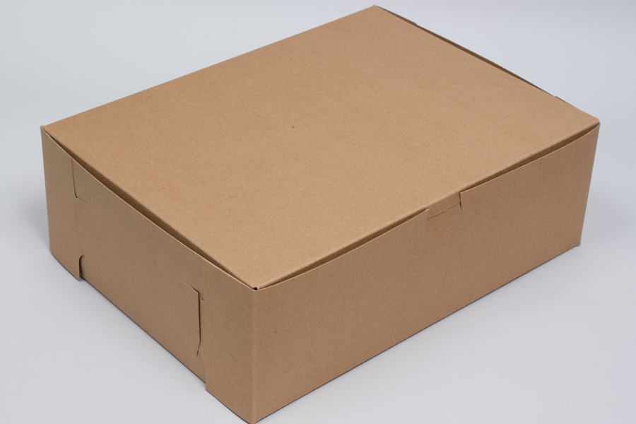 14 x 10 x 4 (1/4 SHEET) NATURAL KRAFT ONE-PIECE BAKERY BOXES