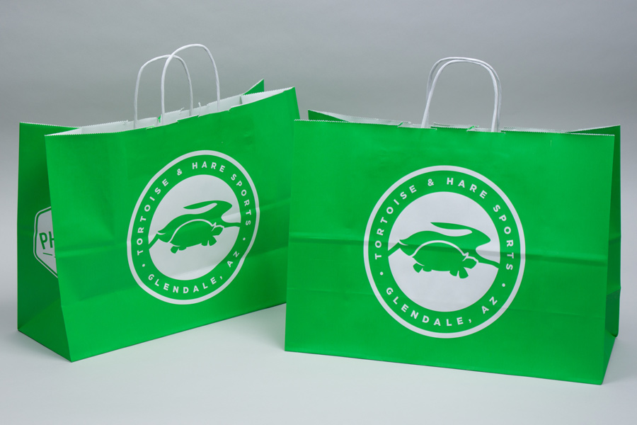 Custom Printed white kraft paper shopping bags