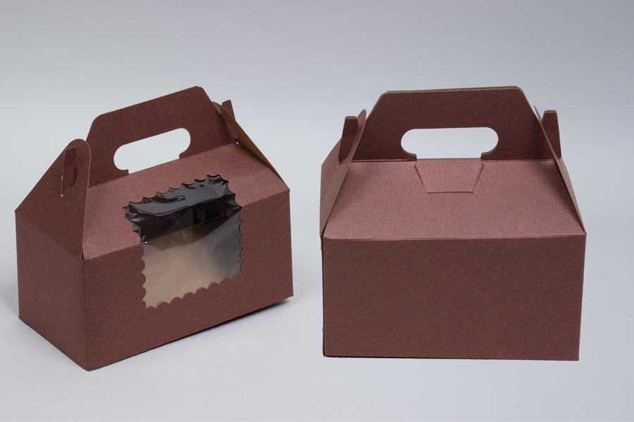 8 x 4 x 4 CHOCOLATE BROWN CUPCAKE GABLE BOXES WITH WINDOW