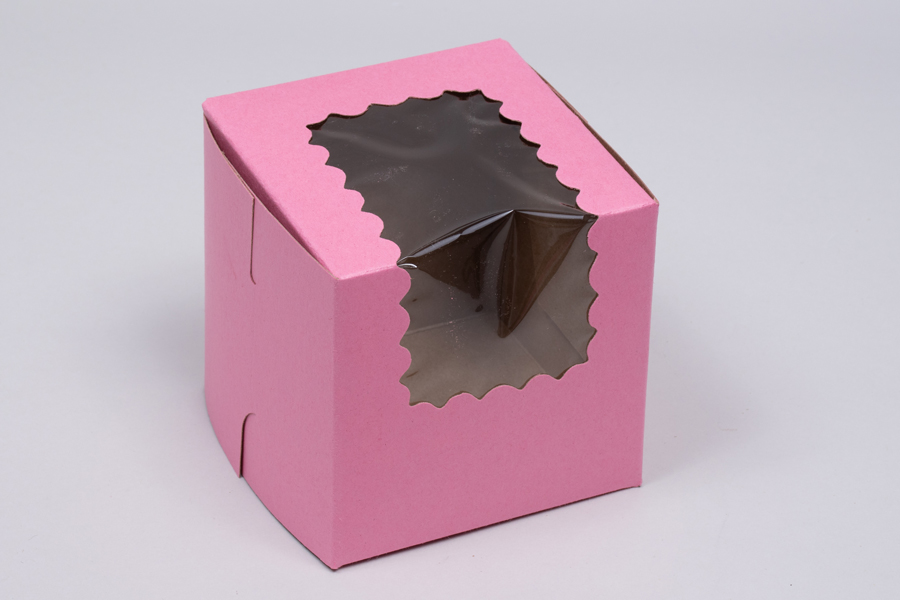 4 x 4 x 4 STRAWBERRY PINK CUPCAKE BOXES WITH WINDOWS