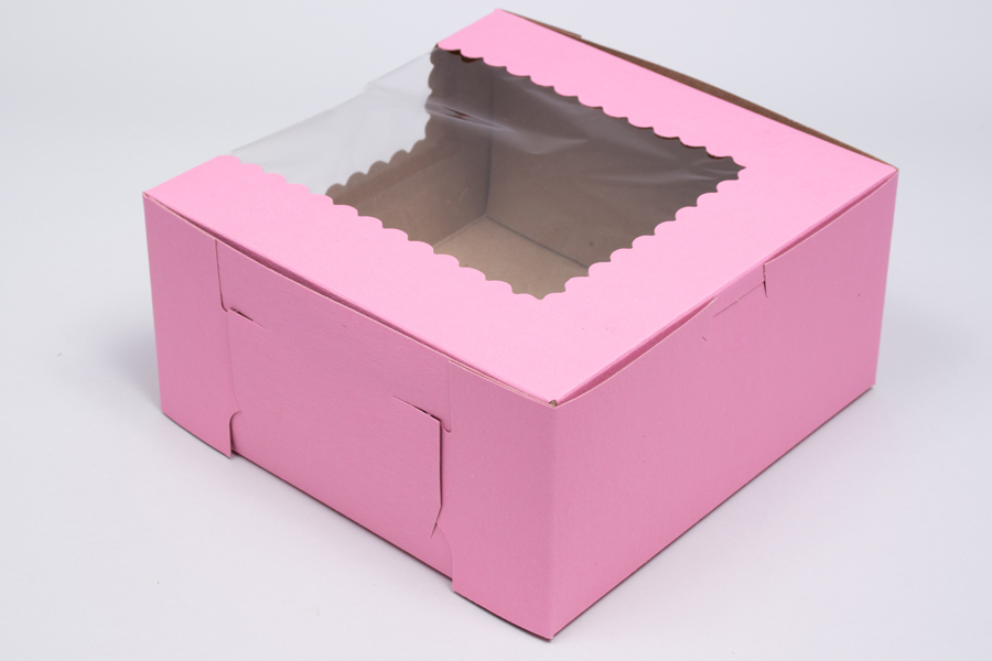 10 x 10 x 4 STRAWBERRY PINK CUPCAKE BOXES WITH WINDOWS