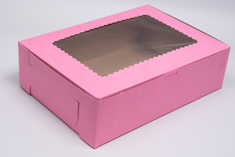 14 x 10 x 4 STRAWBERRY PINK CUPCAKE BOXES WITH WINDOWS
