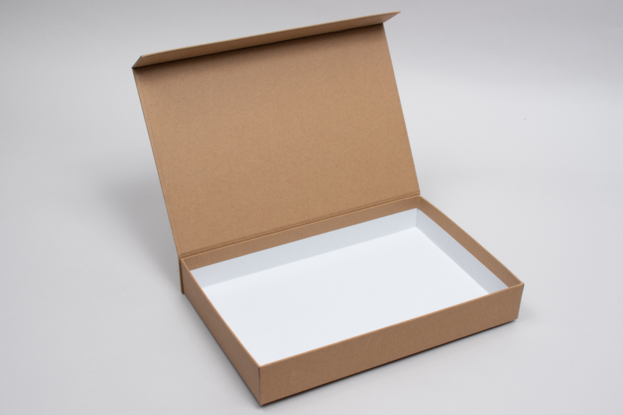 "10-13/16 x 7-3/16"" x 1-9/16"" MATTE KRAFT RIGID MAGNETIC LID GIFT BOXES"