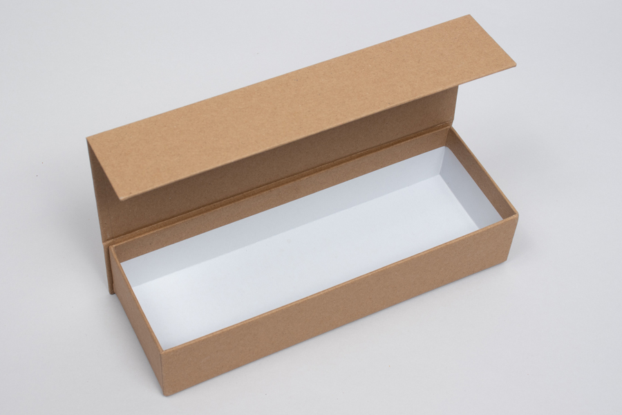 "8"" x 2-3/4"" x 1-5/8"" MATTE KRAFT RIGID MAGNETIC LID GIFT BOXES"
