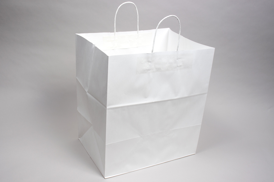 14 x 10 x 15.75 ECONOMY WHITE KRAFT PAPER SHOPPING BAGS