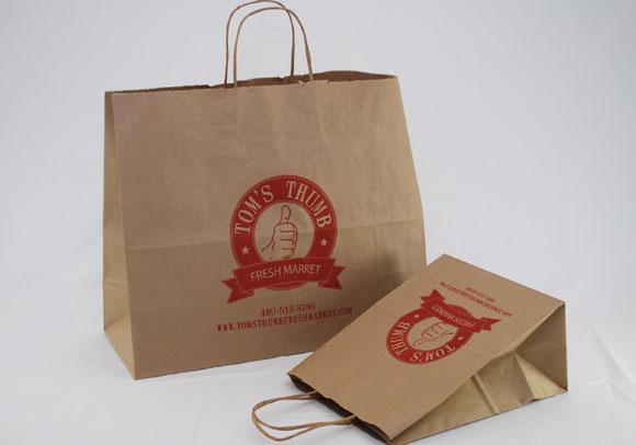 Custom Printed Natural Kraft Paper Shopping Bags