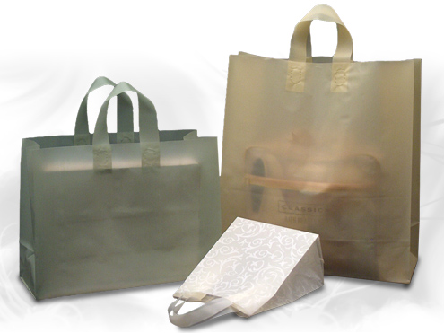 Clearance Item - Frosted Soft Loop Plastic Shopping Bags