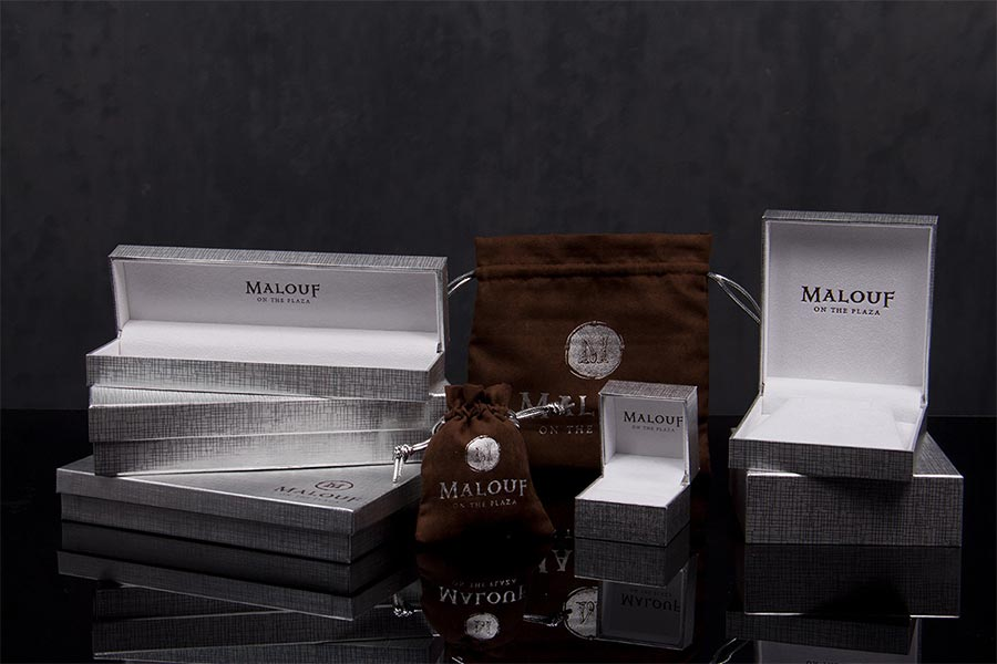 Custom Printed Luxury Jewelery Boxes and Pouches - Malouf
