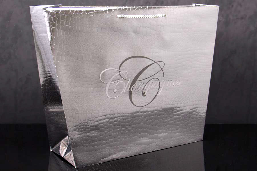 Custom Paper Eurotote Shopping Bag with Alligator Emboss Pattern - Champagnes