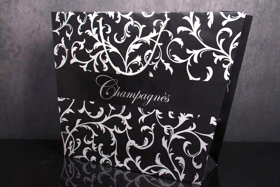 Custom Paper Eurotote Shopping Bag with Rope Handles - Champagnes
