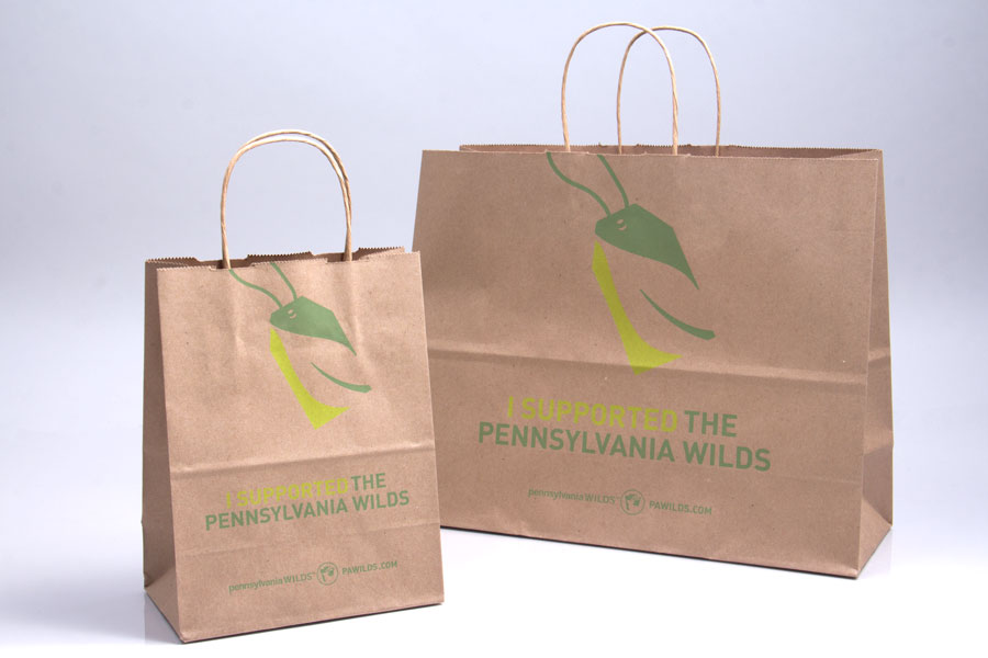 Custom printed natural kraft paper shopping bags - Pennsylvania Wilds