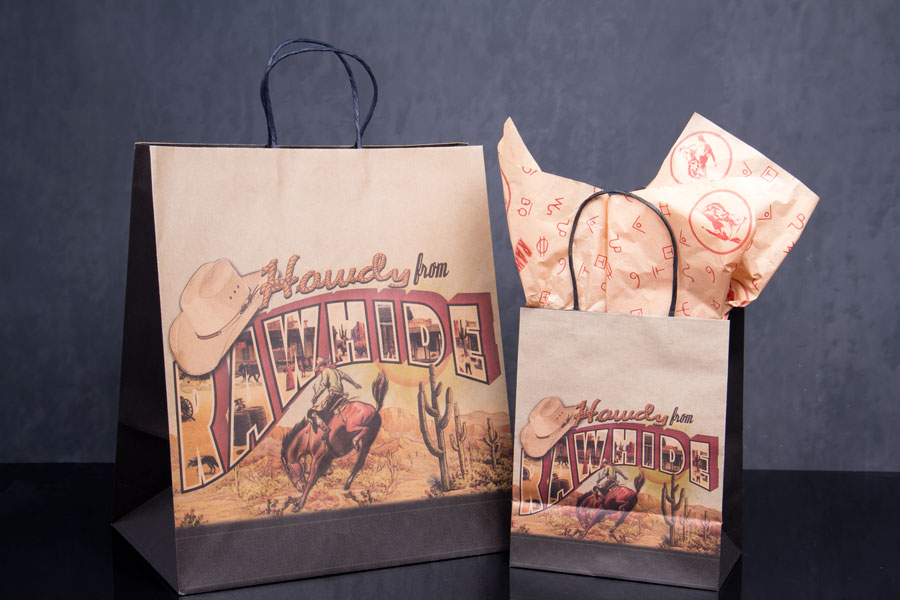 Custom printed paper shopping bags - Rawhide