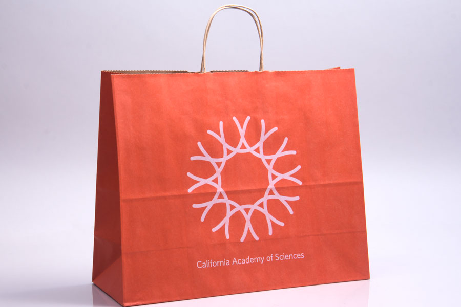 Semi-Custom ink printed paper shopping bags - California Sciences
