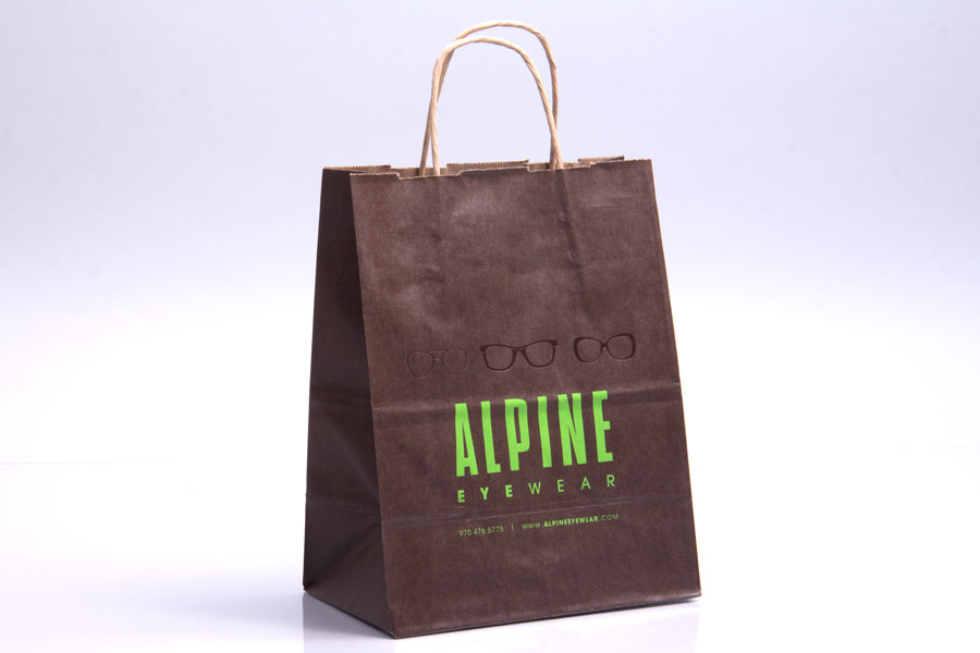 Custom printed hot stamped paper shopping bags - Alpine Eyewear