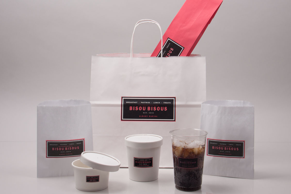 Custom Printed Restaurant and Catering Cups and Bags - Bisou Bisous