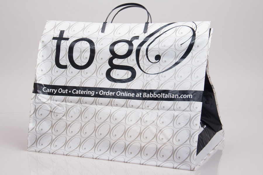 Custom In Printed Plastic Take-out Bags with Die-Cut Handle - Babbos Italian Restaurant