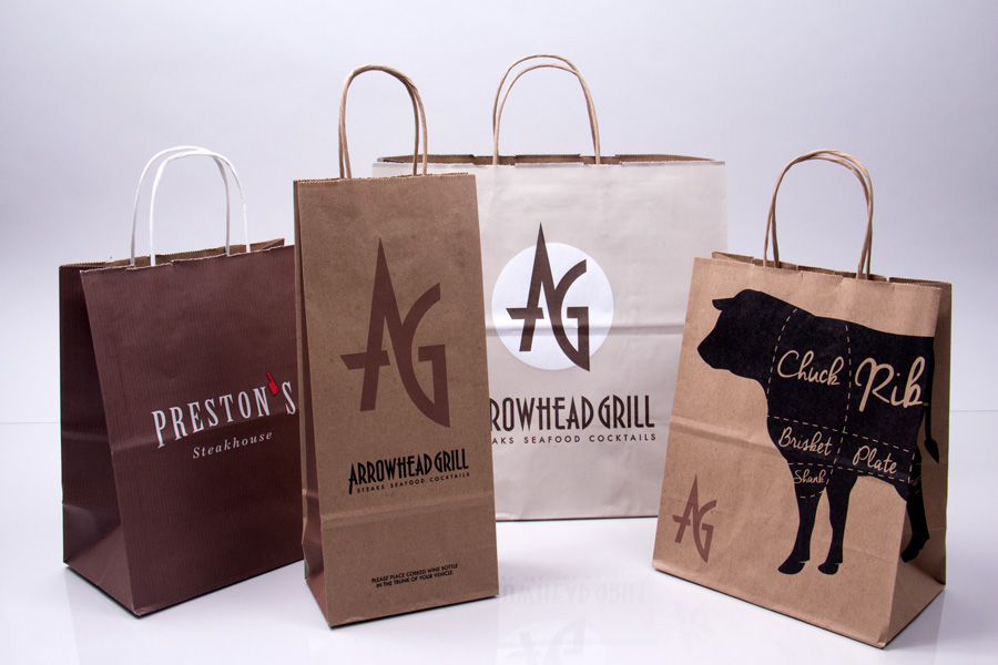 Custom printed paper take-out bags - Arrowhead Grill
