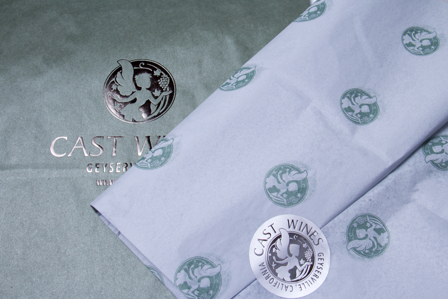 Custom Printed Tissue Paper, Shopping Bag and Metallic label - Cast Wines