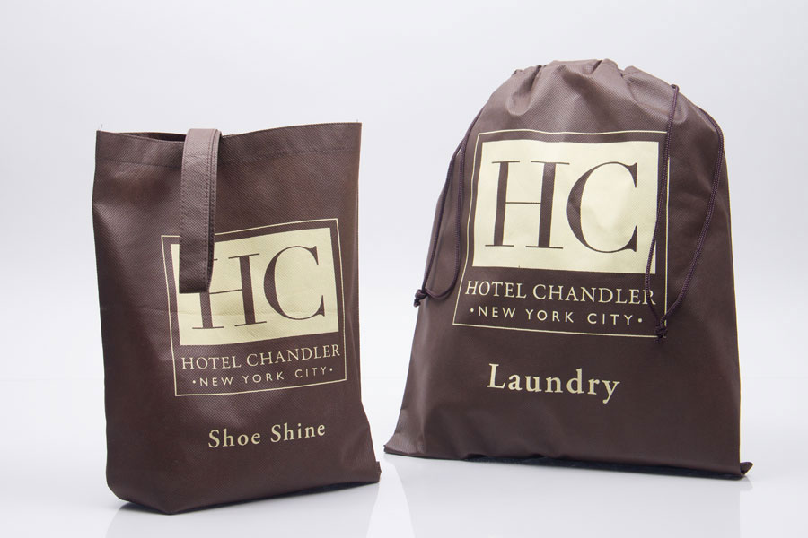 Custom Ink Printed Non-woven Laundry Bags and Shoe Bags - Hotel Chandler