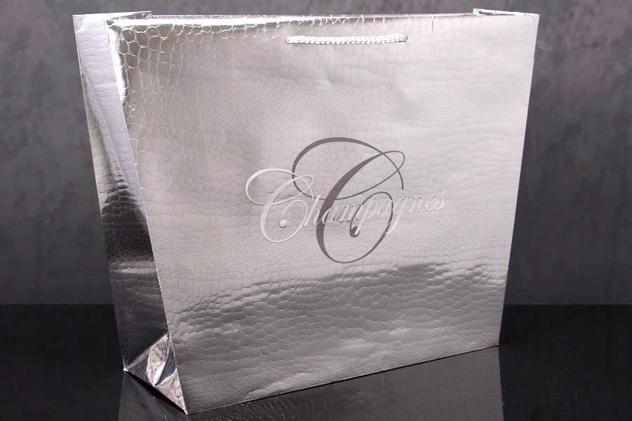 Custom Printed Metallic Paper Hot Stamped Textured Eurotote Shopping Bags - Champagnes
