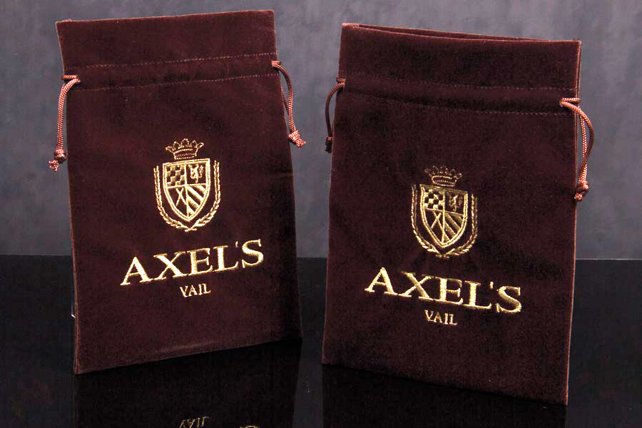Custom Embroiders Velvet Pouches with Drawstring Closure - Axels