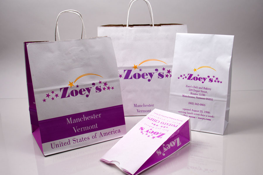 Custom printed paper take-out bags and SOS bags - Zoeys Deli