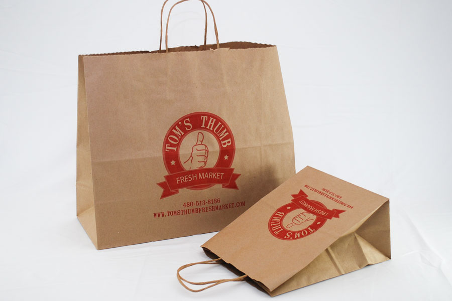 Semi-Custom ink printed paper take-out bags - Toms Thumb Market