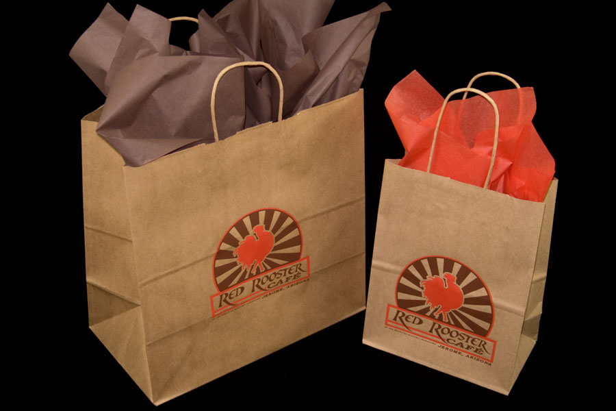 Custom printed natural kraft paper take-out bags - Red Rooster