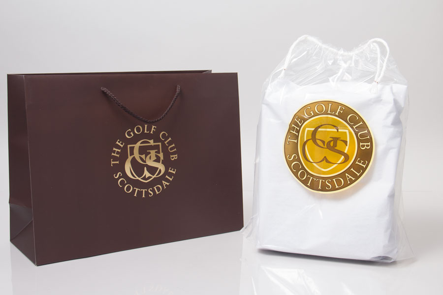 Custom Hot Stamp Printed Paper Eurotote Bags - Scottsdale Golf