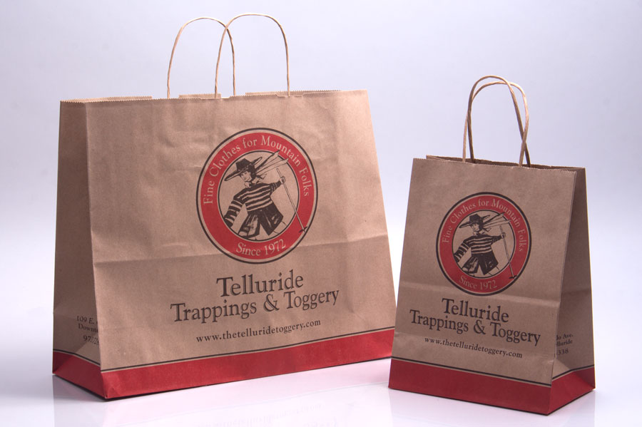 Custom Ink Printed Paper Shopping Bag - Telluride Toggery