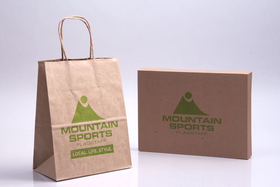 Semi-Custom Ink Printed Paper Shopping Bag - Mountain Sports