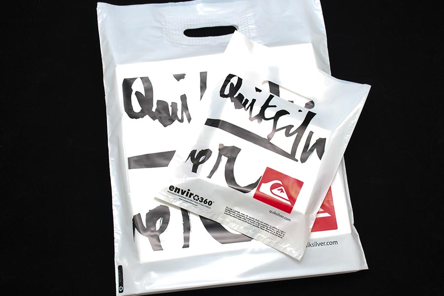 Custom Ink Printed Plastic Merchandise Bags - Quicksilver