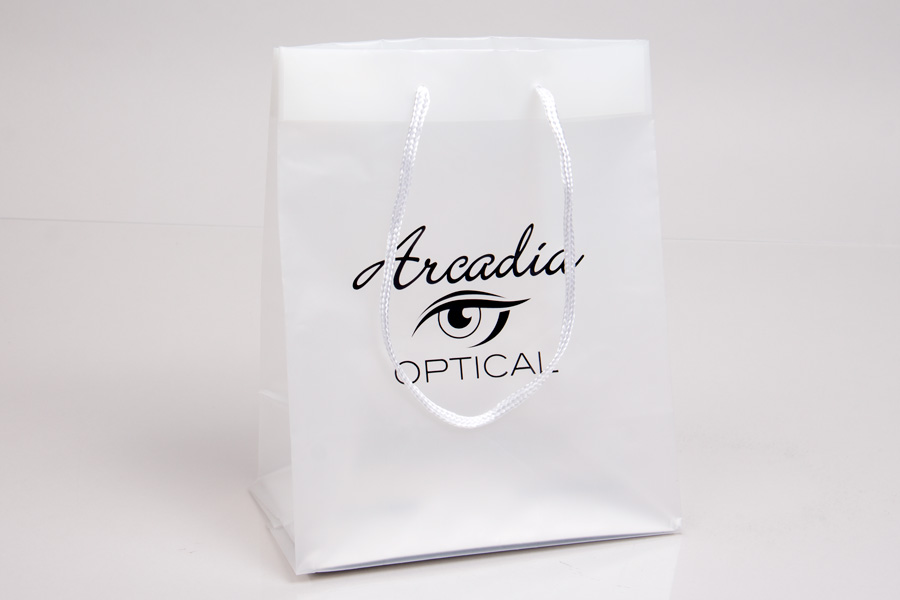 Semi-Custom Printed Frosted Clear Plastic Shopping Bag with Hot Stamp printing - Arcadia