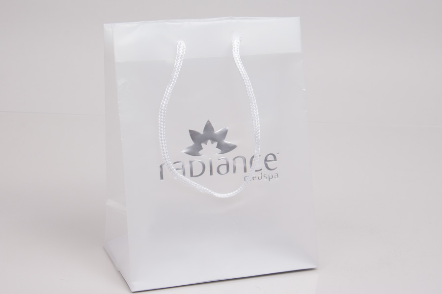 Semi-Custom Printed Frosted Clear Plastic Shopping Bag with Hot stamp - Weekapaug Inn
