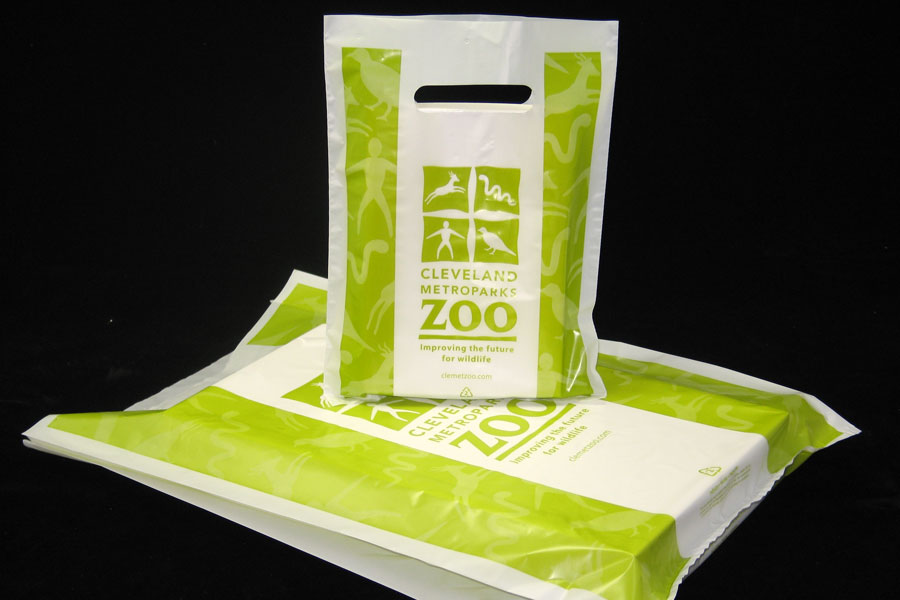 Custom Ink Printed Plastic Merchandise Bag - Cleveland Zoo