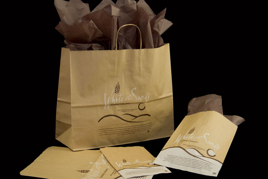 Custom Ink Printed Paper Shopping Bags - White Sands