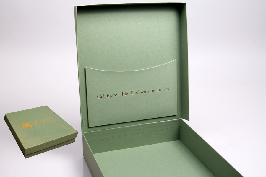 Custom Printed Rigid Giftware Boxes with Pocket - Legacy Keepers