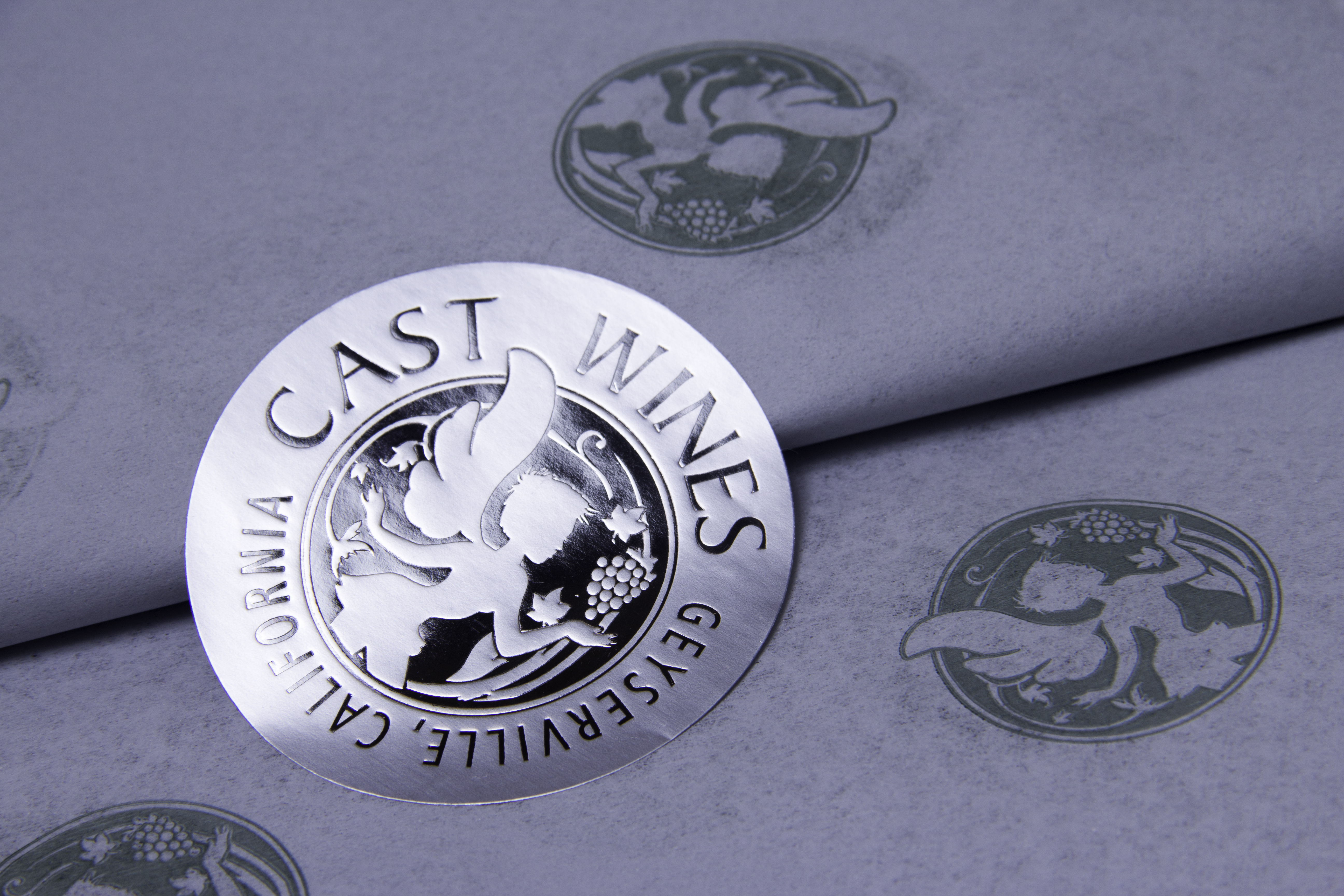 Custom Printed Tissue Paper and Metallic Seal - Cast Wines